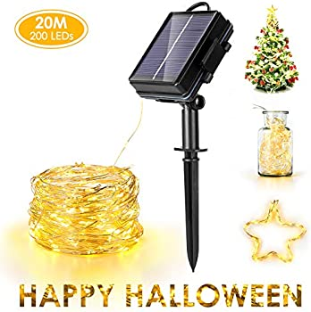 Haofy Solar Powered Sixrun 200 LED Light 75ft Waterproof Copper Wire Lights