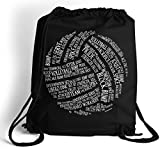 Volleyball Words Cinch Sack | Volleyball Bags by ChalkTalk SPORTS | Black