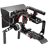 CAMTREE Hunt Professional Shoulder Mount Cage Kit for Blackmagic URSA Mini 4K/Pro 4.6K | Matte Box, Follow Focus with Top Handle Cage + Dovetail Plate for Quick Tripod Mounting (CH-BMUM-SK)