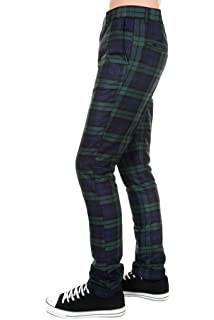 Mens Or Womens Skinny Tartan Punk Mod Drainpipes Trousers Jeans