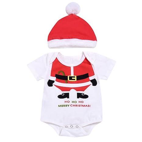 Bebé y bebé Navidad Pelele de Papá Noel y sombrero blanco Funny Santa Talla:3