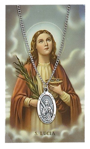 "Pewter St. Lucy Medal & 18"" Chain, Prayer Card Set."