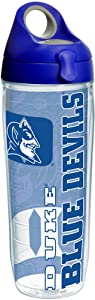 Tervis Duke Blue Devils College Pride Tumbler with Wrap and Blue with Gray Lid 24oz Water Bottle, Clear