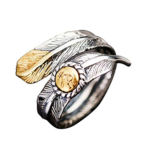 - Floralby Couple Vintage Native Pawn Indian Navajo Signed Feather Open Band Ring Costume Jewelry