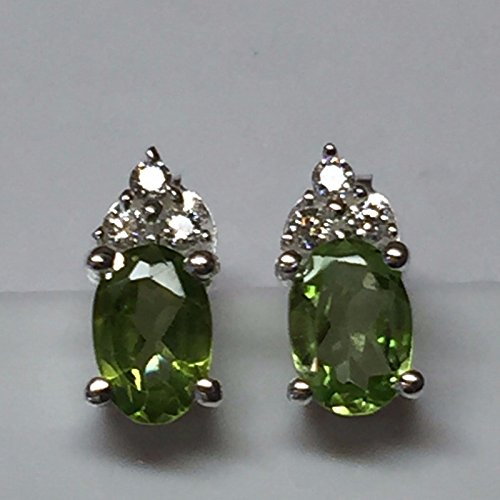 Natural 1.5ct Apple Green Peridot 925 Solid Sterling Silver Earrings 10mm (1.5 Ct Peridot Ring)