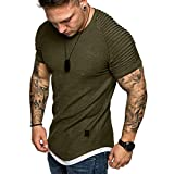 Fashion Men's Comfort Soft Short Sleeve T-Shirt, ANKOLA Summer Pleated Slim Fit O Neck Raglan Tops Blouse Army Green