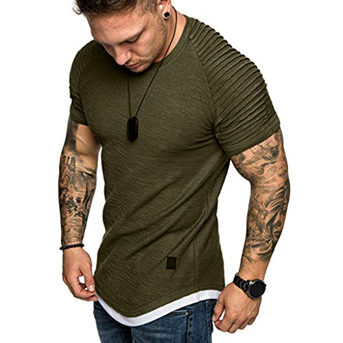 GDJGTA Tops for Mens Summer Solid Color Pleats Slim Fit Raglan Short Sleeve Pattern Top Blouse Army Green