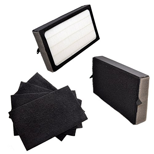 HQRP Filter Kit: 2 pcs Filter E & 4-pack Carbon Filters for GermGuardian AC4100, AC4150PCA, AC4150BCA 3-in-1 Table-Top Air Purifiers, FLT4100 FLT11CB4 Replacement + HQRP Coaster