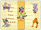 Dolce Mia Circus Party Invitations - 10 pack fill-in cards