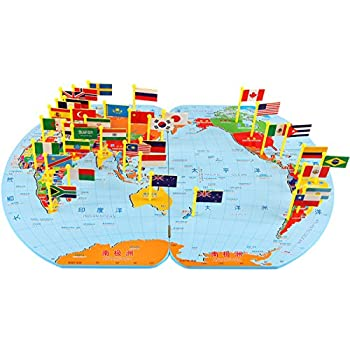 Amazon children wooden puzzle world map flag matching puzzle children wooden puzzle world map flag matching puzzle toy kids geography jigsaw puzzles toy s gumiabroncs Gallery
