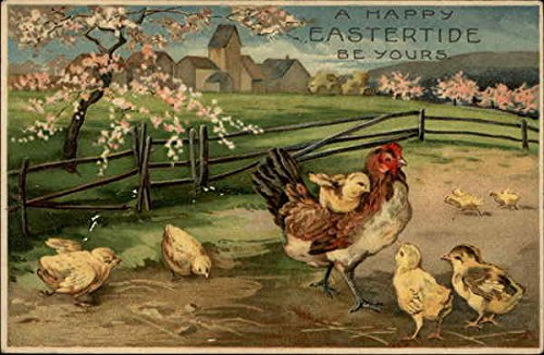 Hen With Brood of Chicks in Springtime Landscape With Chicks Original Vintage -