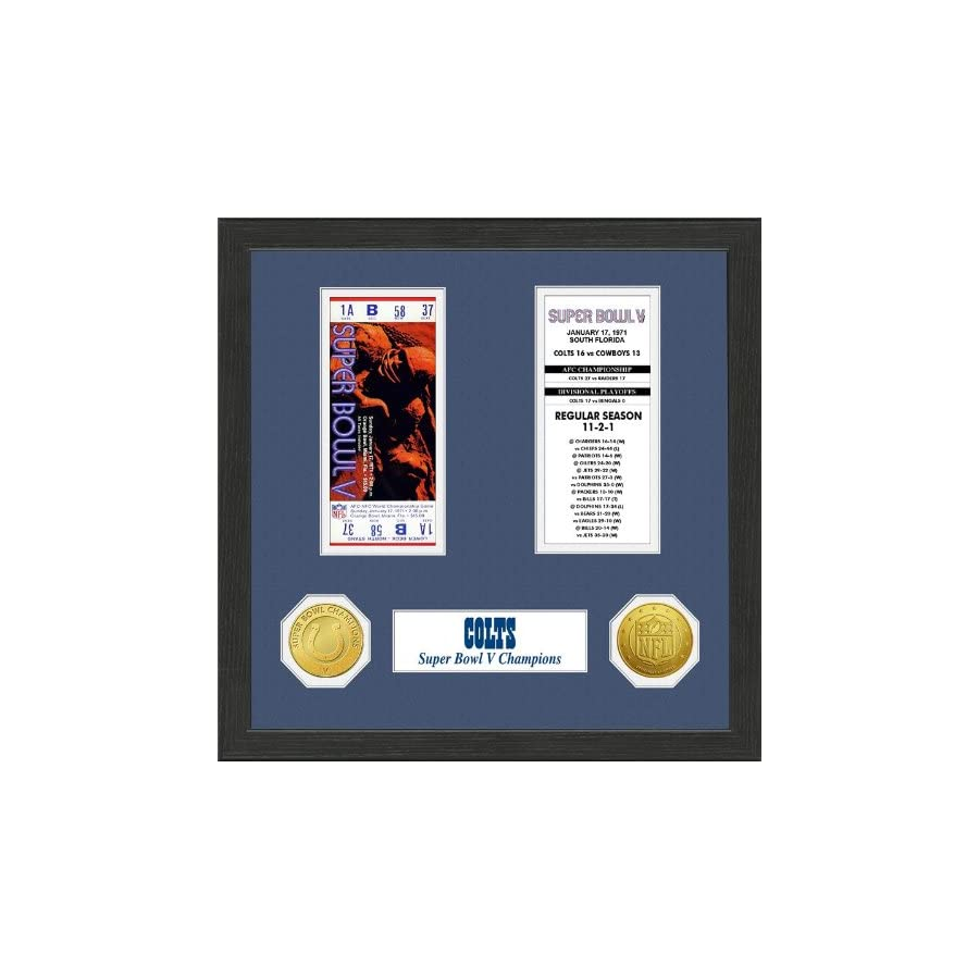 The Highland Mint 1 Pc, Baltimore Colts Super Bowl Ticket Collection Plaque, 12 x 15 Wood Frame, Double Matting With Solid Bronze Super Bowl Champions Commemorative Coin & Solid Bronze NFL Coin