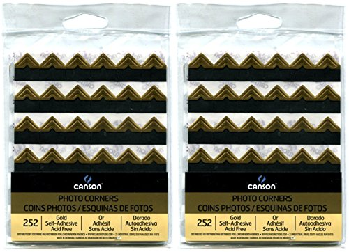 2-Pack Bundle Black 252 count each Pack Peel-Off Archival Quality Canson Self Adhesive Photo Corners