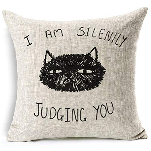 KACOPOL Cat Pillow Covers Cute Black Cat with Funny Quotes Throw Pillow Covers Cotton Linen Home Décor Standard Pillow Case Waist Cushion Cover for Sofa Square 18