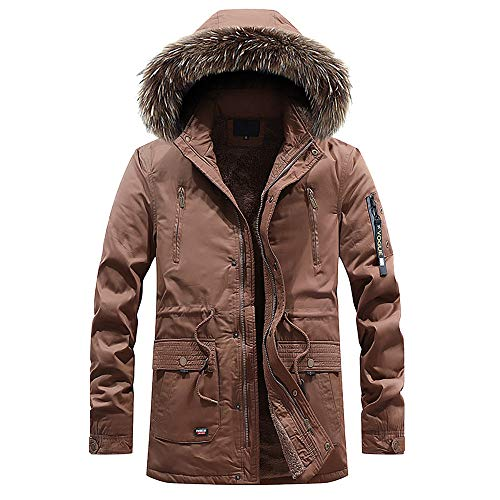 Toimothcn Hoodie Mens Full Zipper Hooded Coat Casual Pocket Button Plush Lined Coat (Coffee,XXL) ()