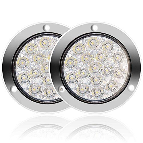 Auovo Round LED Truck Trailer White Taillights with Stainless Steel Rings 16LED DC 12V-24V Waterproof Reverse Backup Lights Tail Lamps for RV Trailer (2 Pcs White)