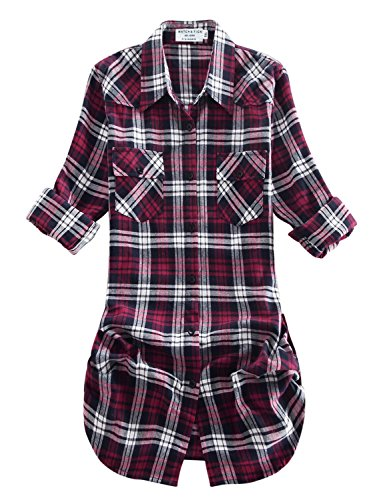 Match Women's Long Sleeve Plaid Flannel Shirt #2021(Large, Checks#20) ()