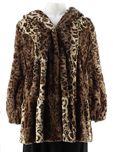 Dennis Basso Platinum Tiered Faux Coat Hood A259799, Camel Lynx, XL