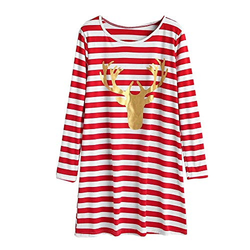 Painted Table Rattan (kaifongfu Stripe Dress Women Long Sleeve Casual Dress with Christmas Elk(Red,M))