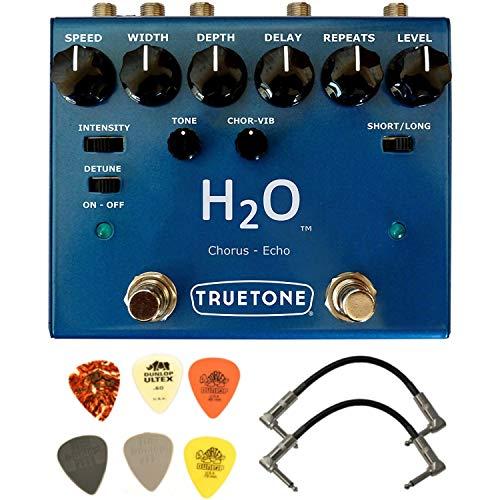 Truetone H2O V3 Liquid Chorus and Echo Pedal Bundle with 2 Patch Cables and 6 Guitar Picks