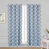 WONTEX Lattice Printed Thermal Insulated Blackout Curtains, Grommet Room Darkening Curtains for Living Room and Bedroom, Set of 2 Curtain Panels, 52 x 84 inch, White|Teal