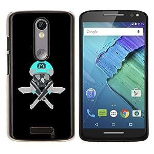 """Be-Star Único Patrón Plástico Duro Fundas Cover Cubre Hard Case Cover Para Motorola Droid Turbo 2 / Moto X Force ( Cráneo divertido M juego retro Pistolas Pistolas"""" )"""
