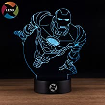 LE3D 3D Optical Illusion Desk Lamp/3D Optical Illusion Night Light, 7 Color LED 3D Lamp, Marvel Comics 3D LED For Kids and Adults, Iron Man Light Up