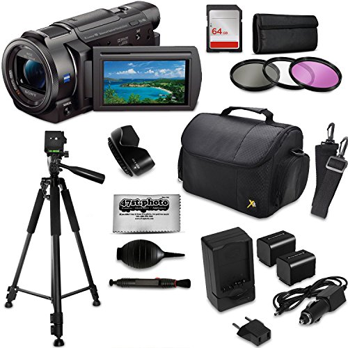 Sony FDR-AX53 4K HD Handycam Camcorder Video Camera + Tripod + SD Card + Filter + Bag + Battery + Starter Beginner Bundle Kit -  47th Street Photo, SNAX53K5