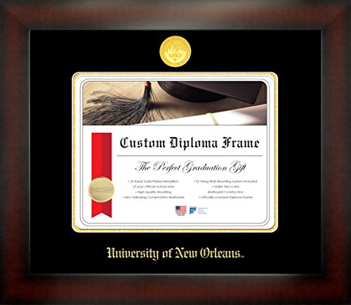 The University of New Orleans 8½ x 11 Mahogany Finish Infinity Diploma Frame by Celebration Frames by Celebration Frames