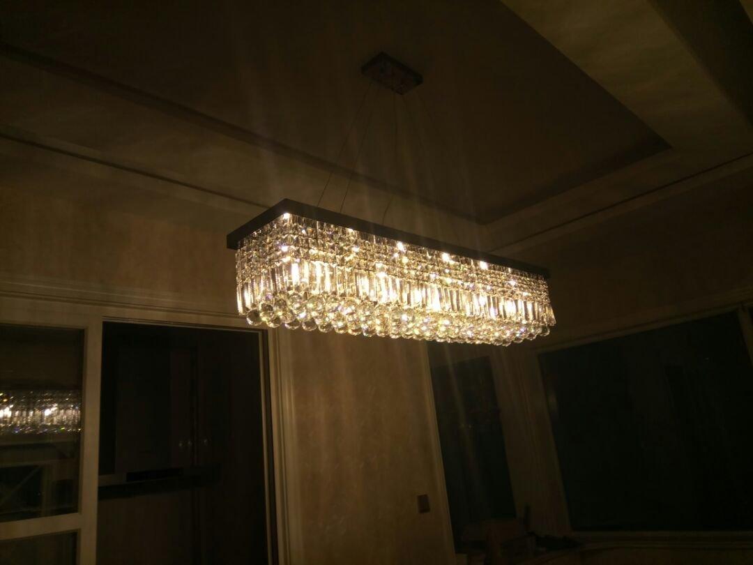 Siljoy L39.5'' X W10'' X H10'' Clear K9 Crystal Modern Chandelier Black Rectangle Frame Base Pendant Lighting by Siljoy