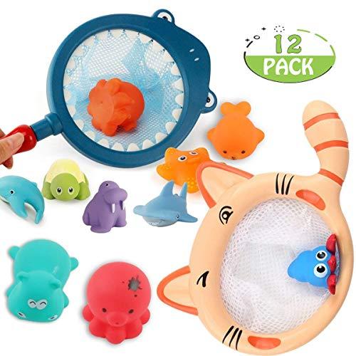 POKONBOY Bath Toys for Toddlers, Bath Toys Bathtube Toys Ocean Animals Bath Toys Fishing Net Water Toys Kids Bath Time Play Set for Toddlers Kids and Babies