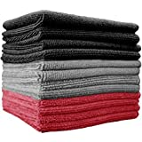 """THE RAG COMPANY 51616-S 16"""" x 16"""" (12-Pack) x 16 in. Commercial Grade All-Purpose Microfiber Highly Absorbent, LINT, Streak-Free Cleaning Towels (Black/Grey / Red), Pack"""