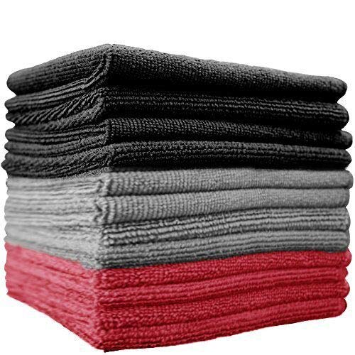 "THE RAG COMPANY 51616-S 16"" x 16"" (12-Pack) x 16 in. Commercial Grade All-Purpose Microfiber Highly Absorbent, LINT, Streak-Free Cleaning Towels (Black/Grey / Red), Pack"