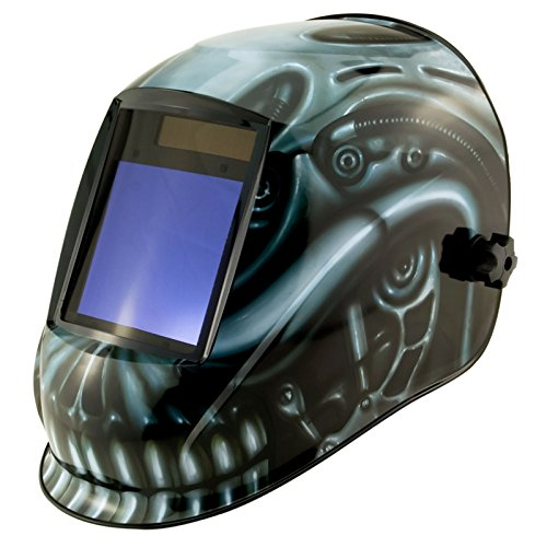 True-Fusion Big-1 Biomech IQ2000 Solar Powered Auto Darkening Welding Helmet Hood Grind mask with Massive View Area (98mm x 87mm - 3.85x3.45 inches) FREE Storage Bag, Spare Lenses and Spare Sweatband included by True-Fusion