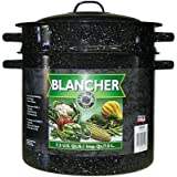 Columbian Home Covered Blancher 7 Qt. Ceramic On Steel Black 4 Oz