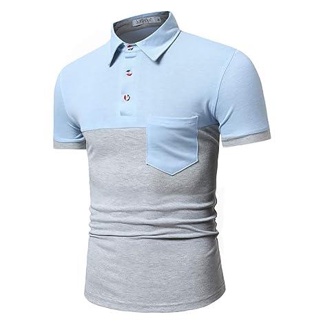 Camisa Polo para Hombre,Costuras Bicolor Camisas de Manga Corta ...