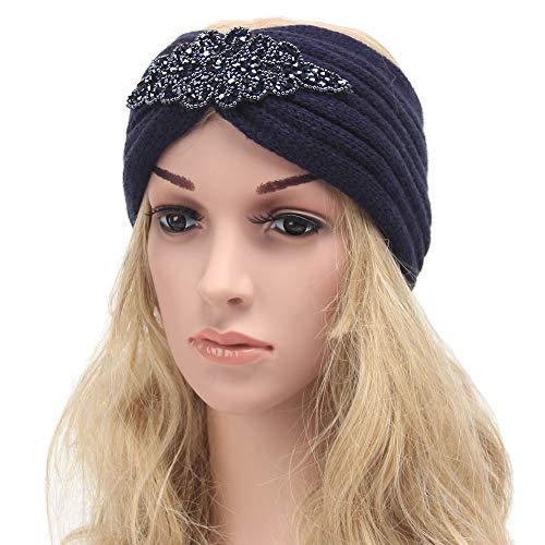 Bohemia Headband, Women Diamond Knitting Handmade Warm Hairband Hair Accessories (Navy) by Appoi Headband Headwrap (Image #1)
