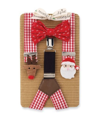 Boy's Suspenders & Bow Set: Mud Pie Boy's Christmas Bowtie & Suspender Set (Toddler Boy Christmas Outfits)