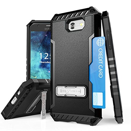 TJS Galaxy J3 Emerge/J3 Prime/Amp Prime 2/Express Prime 2/Sol 2/J3 Mission/J3 Luna Pro/J3 Eclipse Case, with [Tempered Glass Screen Protector] Shock Absorbing Kickstand Silicone Inner Layer (Black)