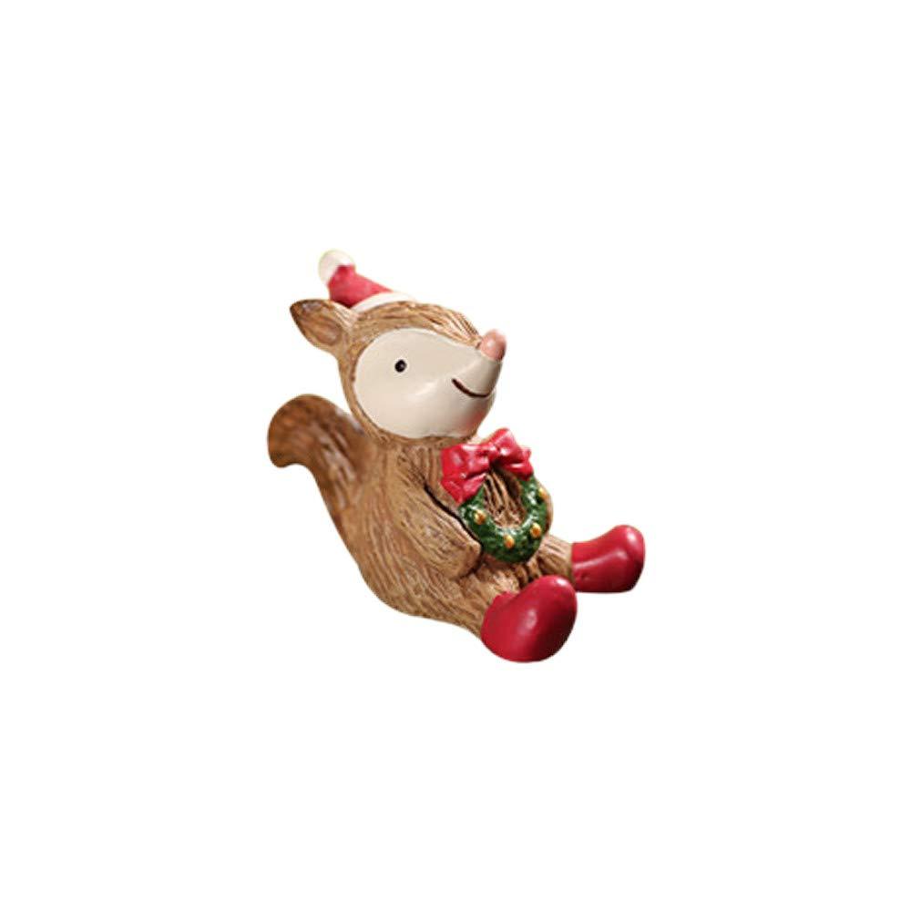 Christmas Tree Decorations Clearance,Jchen(TM) Merry Christmas Resin Miniature Mini Christmas Animals DIY Craft Accessory Home Garden Decoration (E)