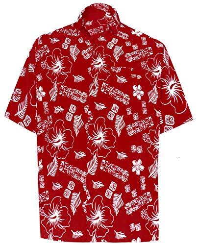(LA LEELA Likre Soft Silk Printed Shirt Red 503 2XL |Chest 54