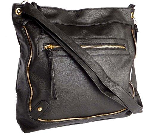 Womens Crossbody Shoulder Bag Ladies Tote Handbag Girls Large School Bag  HB-2541 (Black 2541)  Amazon.co.uk  Shoes   Bags c52960ce41a