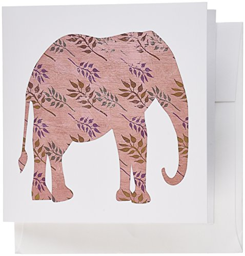 3dRose Pink Vintage Style Elephant with Flourish Greeting Cards, Set of 12 (gc_108778_2) (Flourish Pink)