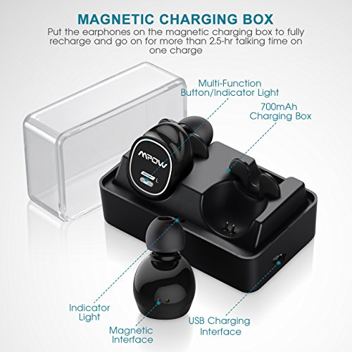Mpow True Wireless Earbuds, V4.1+EDR Bluetooth Headphones with Magnetic Charging Box, Mini Stereo Bluetooth Earpiece Hands Free Headset Sport Earbuds w/ Mic