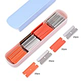 FOSHIO 80 Pack Utility Knife Scraper Blades Include 40pcs Stainless Single Side Razor Blade and 20pcs Plastic Blade with Storage Box for Free
