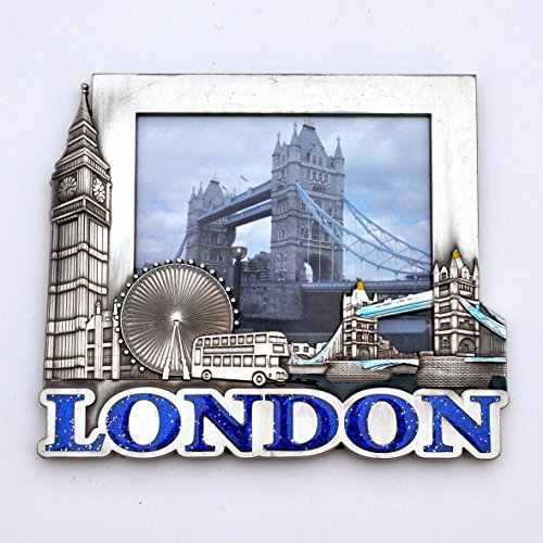 I Love London Photo Frame - Metal Photo Frame - London Souvenir Photo Frame - London Icons Metal Photo Frame - Big Ben, Tower Bridge, London Eye - Medium Size