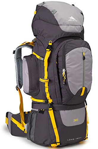 High Sierra Long Trail 90L Top Load Internal Frame Backpack Pack, High-Performance Pack for Backpacking, Hiking, Camping, with Rain Fly, Mercury/Ash/Yell-O