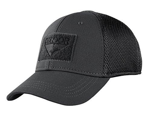 Condor Flex Mesh Cap (BLACK), Breathable Fitted Tactical Operator Hat (L/XL)