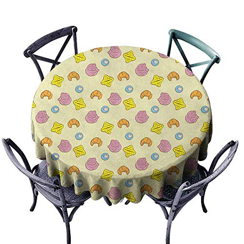 (duommhome Colorful Washable Table Cloth Fried Egg Bread Croissant and Coffee in The Morning Healthy Breakfast Food Cartoon Great for Buffet Table D51)