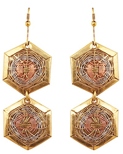 Handcrafted Designer Jewelry - Touchstone New Indian Bollywood Desire Finely Handcrafted Wire Concentric Multifaceted Brass Case Pretty Look Designer Jewelry Earrings in Antique Gold Silver Copper Tones for Women